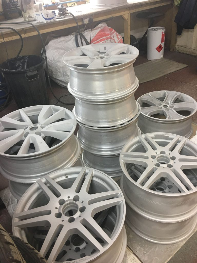 Alloy wheels prepped and ready for powder coat for Crowborough customer